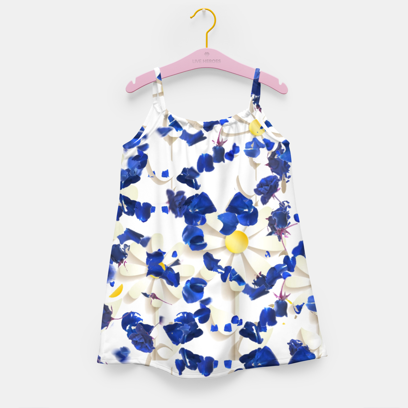 Foto white daisies and blue cyclamens floral pattern Girl's dress - Live Heroes