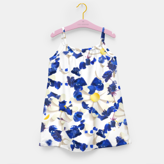 Miniaturka white daisies and blue cyclamens floral pattern Girl's dress, Live Heroes