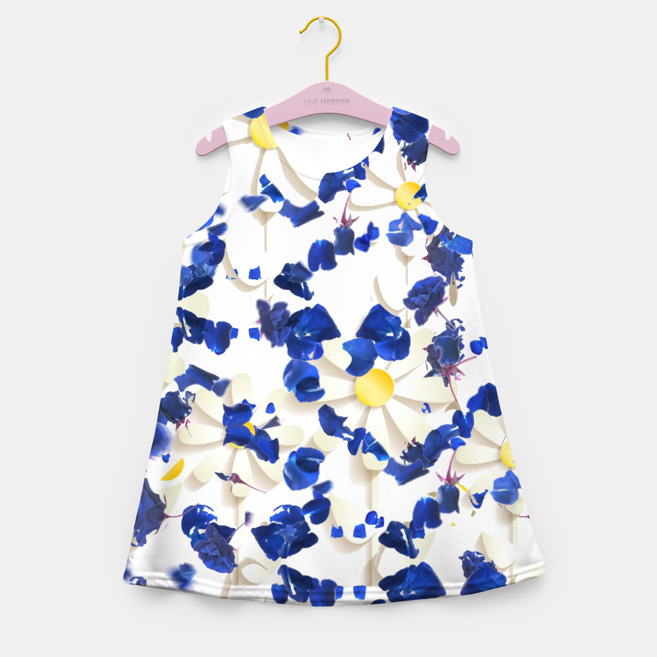 Foto white daisies and blue cyclamens floral pattern Girl's summer dress - Live Heroes