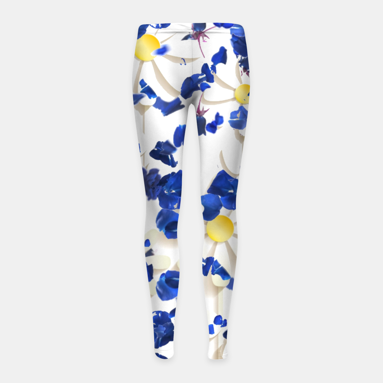 Foto white daisies and blue cyclamens floral pattern Girl's leggings - Live Heroes