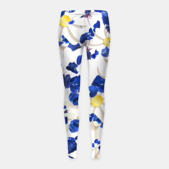 white daisies and blue cyclamens floral pattern Girl's leggings thumbnail image