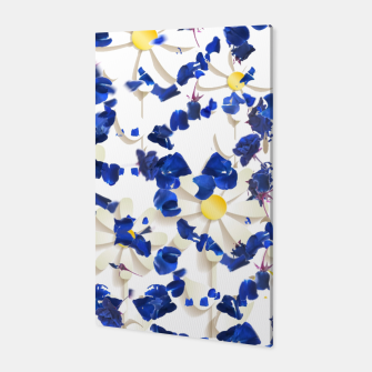 Miniatur white daisies and blue cyclamens floral pattern Canvas, Live Heroes