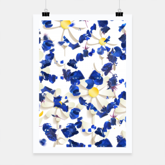 Thumbnail image of white daisies and blue cyclamens floral pattern Poster, Live Heroes