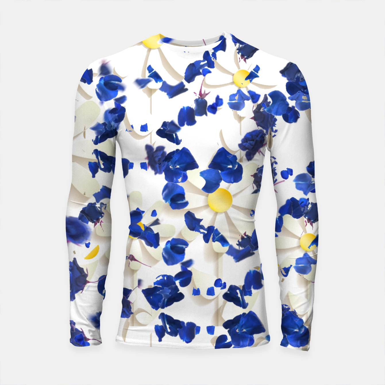 Foto white daisies and blue cyclamens floral pattern Longsleeve rashguard  - Live Heroes