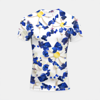 Thumbnail image of white daisies and blue cyclamens floral pattern Shortsleeve rashguard, Live Heroes