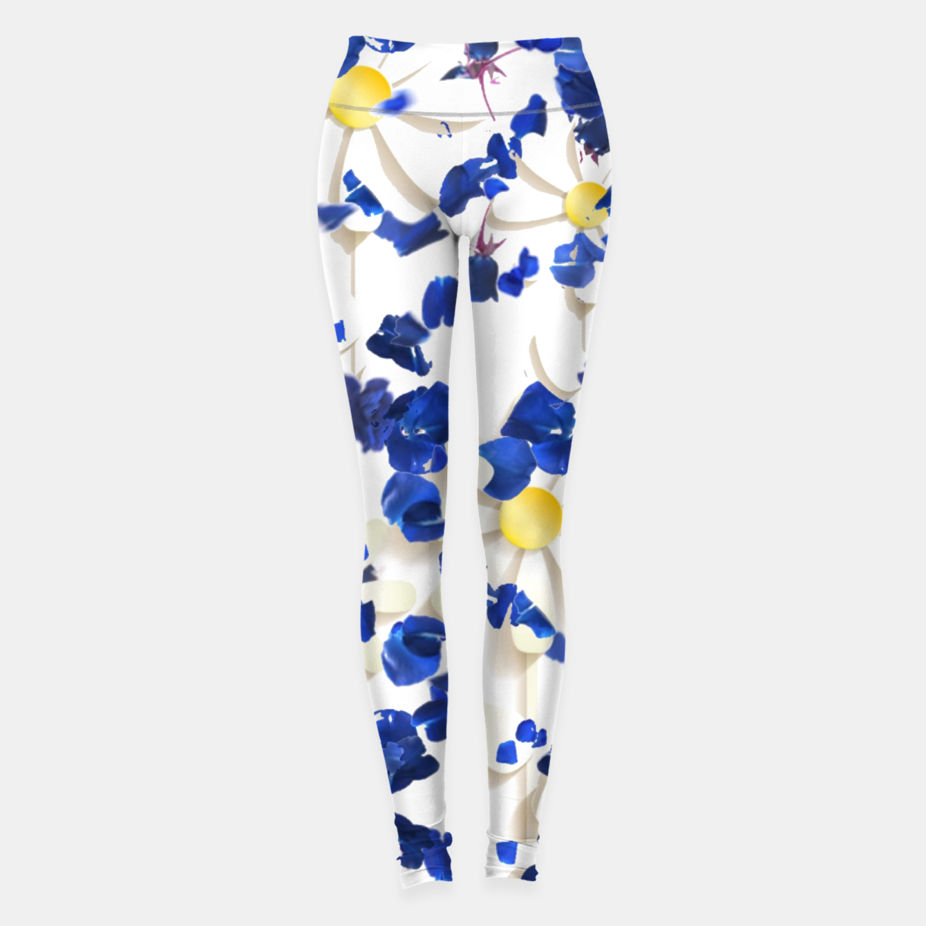Image of white daisies and blue cyclamens floral pattern Leggings - Live Heroes