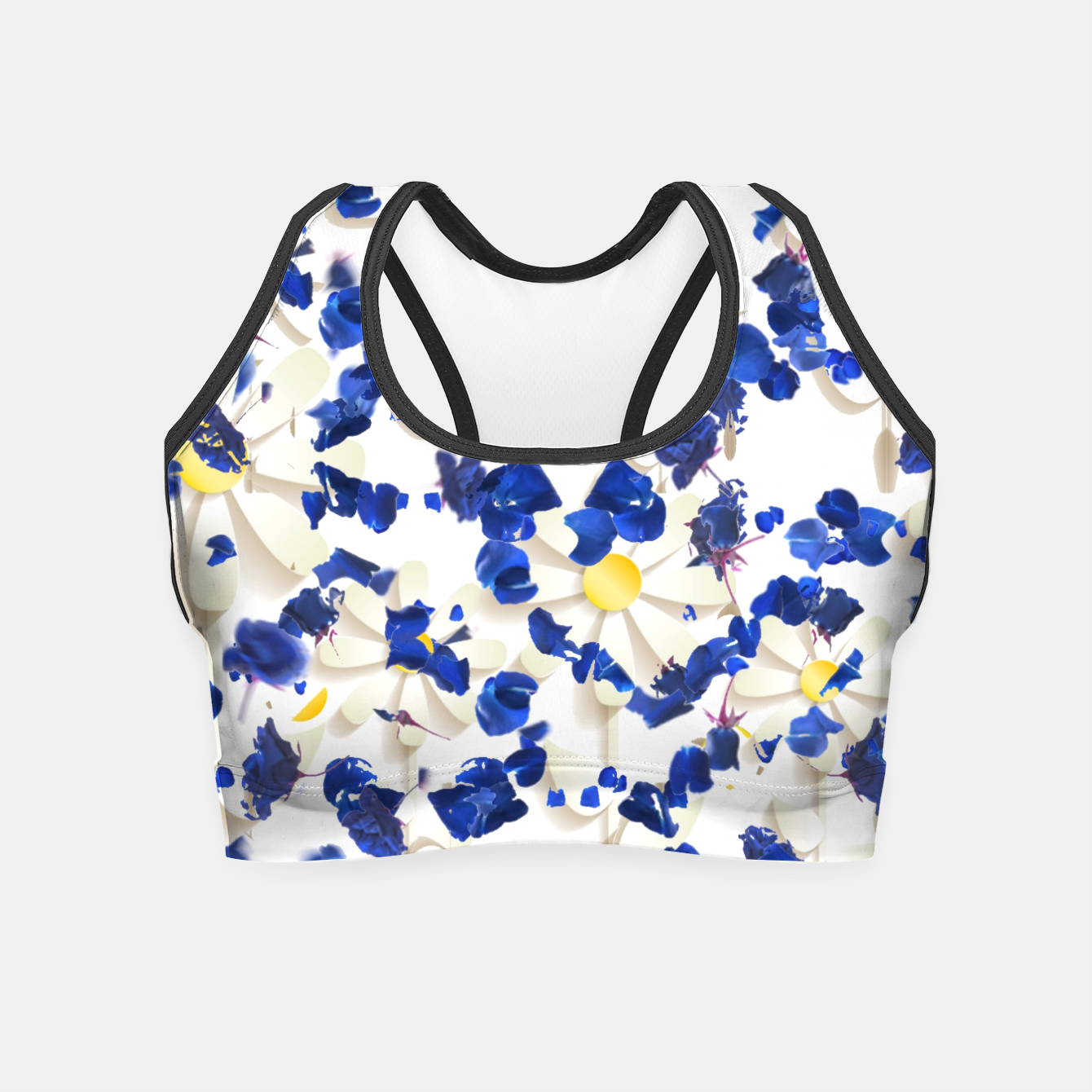 Foto white daisies and blue cyclamens floral pattern Crop Top - Live Heroes