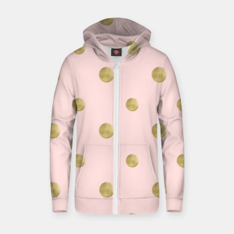 Imagen en miniatura de Happy Polka Dots Gold on Blush #1 #decor #art  Reißverschluss kapuzenpullover, Live Heroes