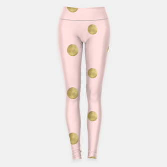 Imagen en miniatura de Happy Polka Dots Gold on Blush #1 #decor #art  Leggings, Live Heroes