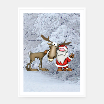 Thumbnail image of Santa and Reindeer Framed poster, Live Heroes