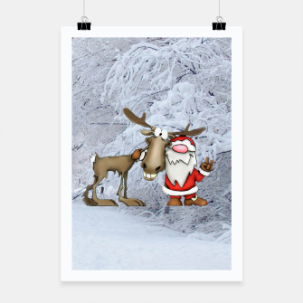 Thumbnail image of Santa and Reindeer Poster, Live Heroes