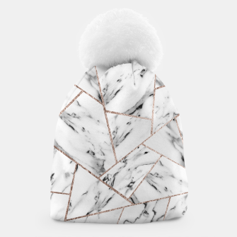 Miniaturka White Marble Rose Gold Geometric Glam #1 #geo #decor #art Mütze, Live Heroes