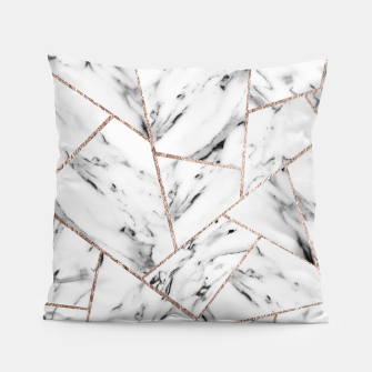 Miniaturka White Marble Rose Gold Geometric Glam #1 #geo #decor #art Kissen, Live Heroes