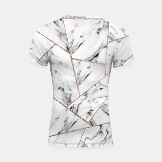 Miniaturka White Marble Rose Gold Geometric Glam #1 #geo #decor #art Shortsleeve rashguard, Live Heroes