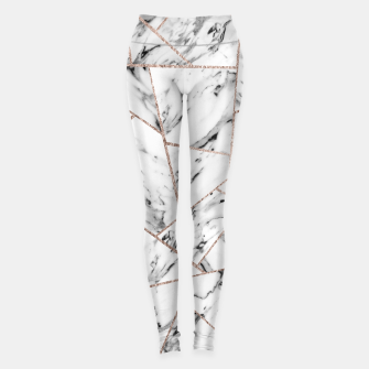 Miniaturka White Marble Rose Gold Geometric Glam #1 #geo #decor #art Leggings, Live Heroes