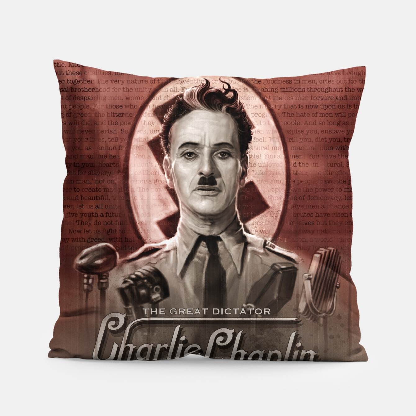 Image of Charlie Chaplin - Great Dictator Pillow - Live Heroes