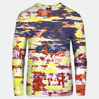 Multicolored Abstract Grunge Texture Print Unisex sweater obraz miniatury