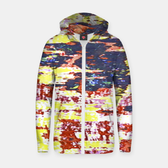 Multicolored Abstract Grunge Texture Print Zip up hoodie obraz miniatury