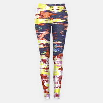 Multicolored Abstract Grunge Texture Print Leggings obraz miniatury