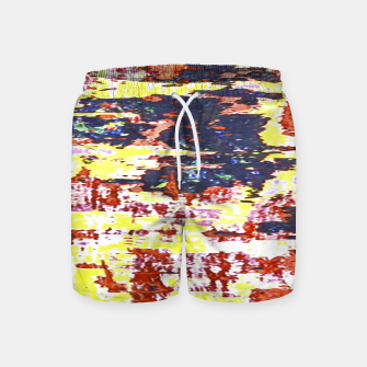 Multicolored Abstract Grunge Texture Print Swim Shorts obraz miniatury