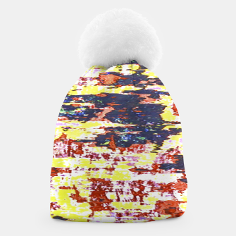 Multicolored Abstract Grunge Texture Print Beanie obraz miniatury