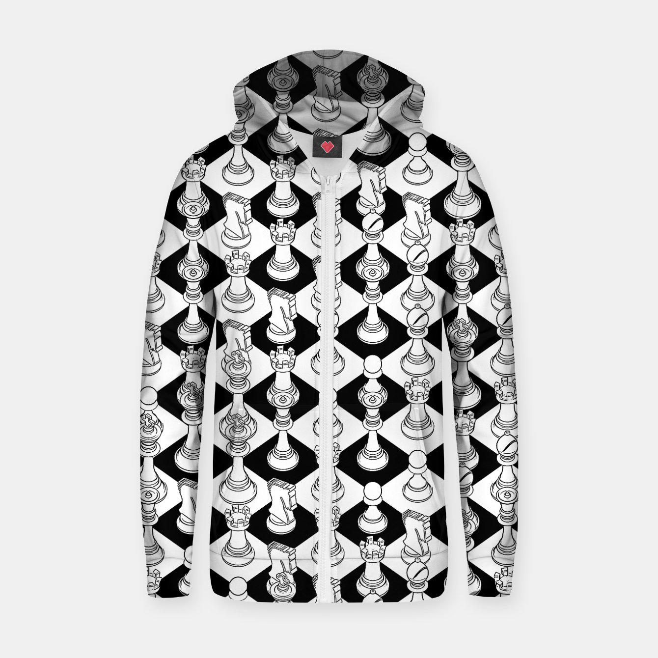 Image of Isometric Chess WHITE Zip up hoodie - Live Heroes
