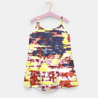 Multicolored Abstract Grunge Texture Print Girl's dress obraz miniatury