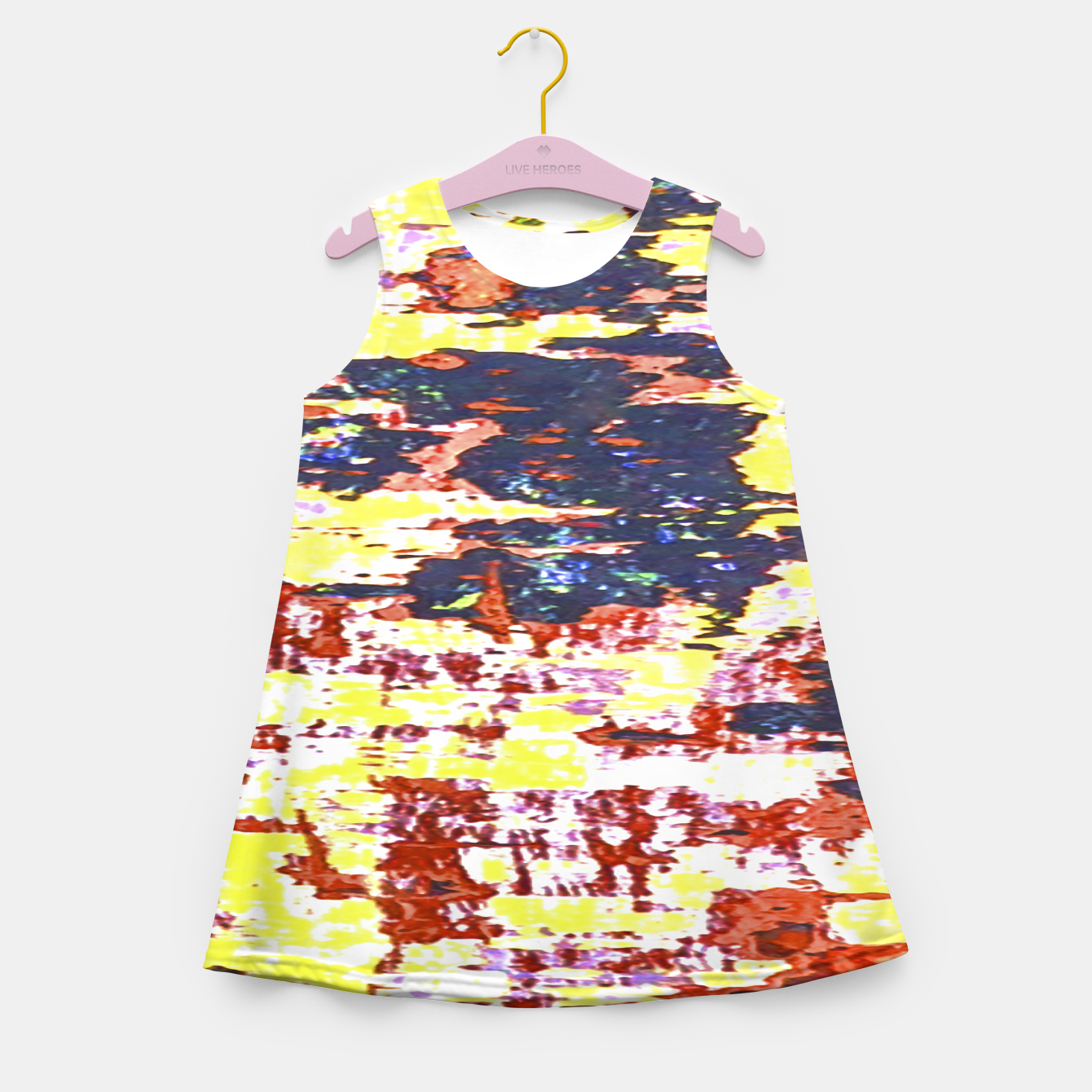 Zdjęcie Multicolored Abstract Grunge Texture Print Girl's summer dress - Live Heroes
