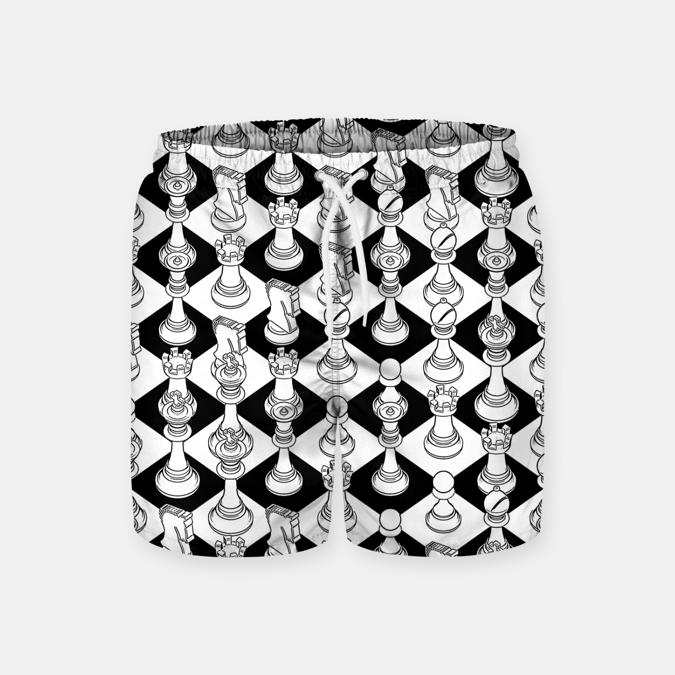 Foto Isometric Chess WHITE Swim Shorts - Live Heroes