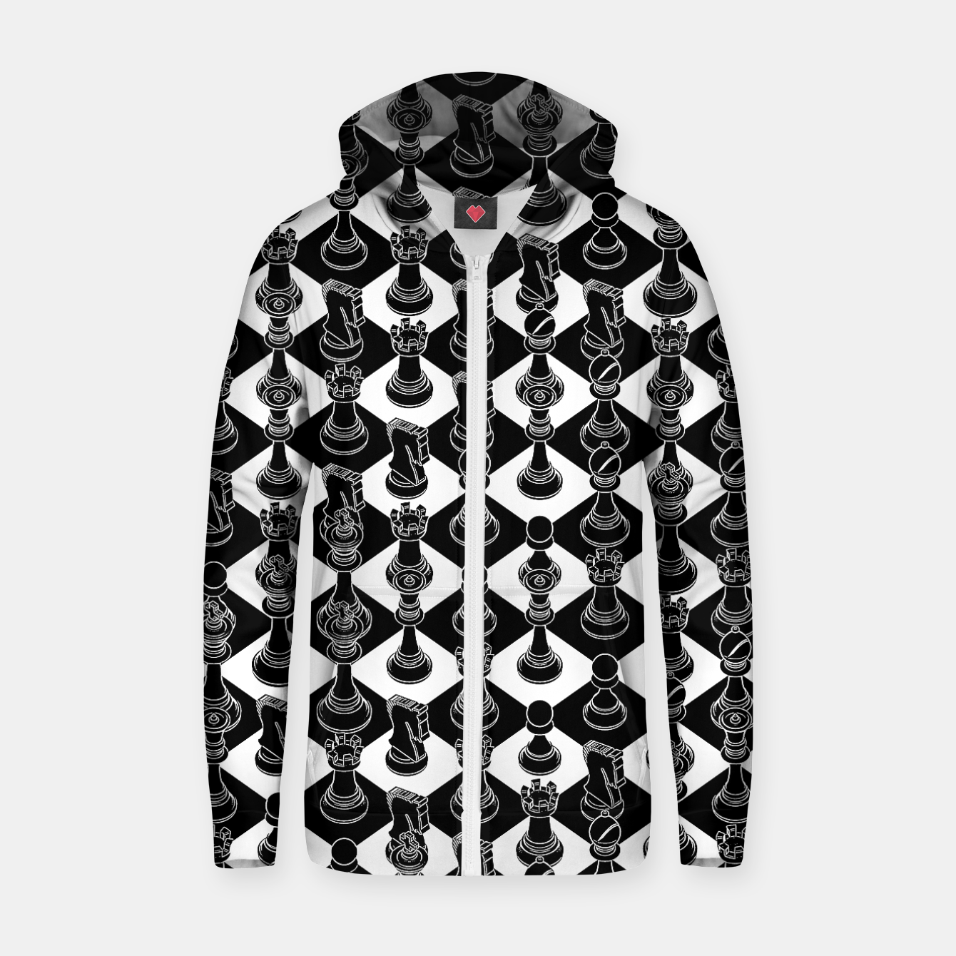 Image of Isometric Chess BLACK Zip up hoodie - Live Heroes