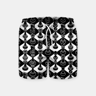 Thumbnail image of Isometric Chess BLACK Swim Shorts, Live Heroes