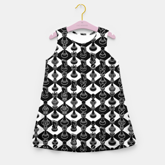 Thumbnail image of Isometric Chess BLACK Girl's summer dress, Live Heroes