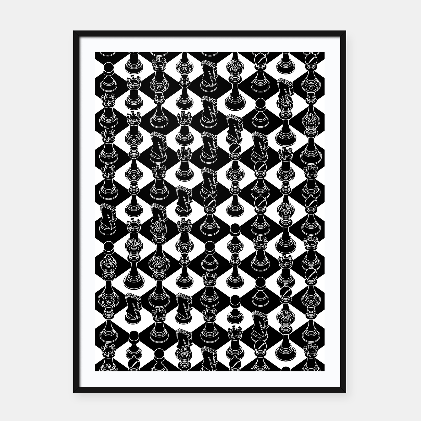 Image of Isometric Chess BLACK Framed poster - Live Heroes