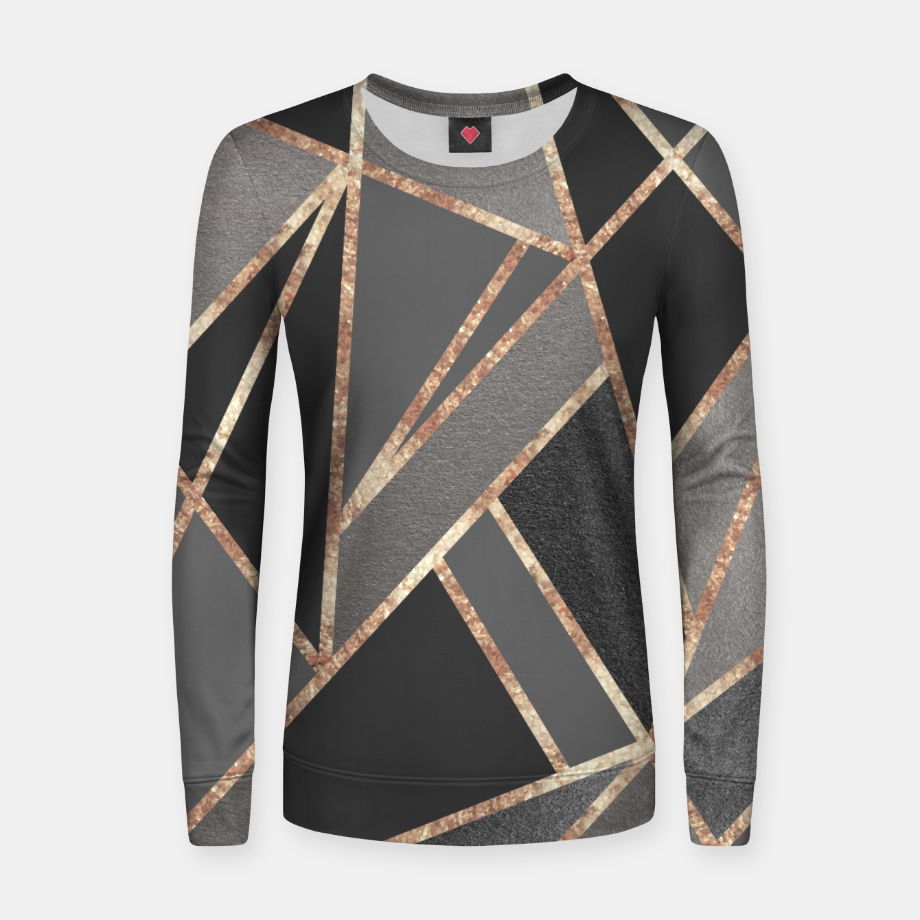 Zdjęcie Classic Silver Gray Charcoal Rose Gold Geo #1 #geometric #decor #art  Frauen sweatshirt - Live Heroes
