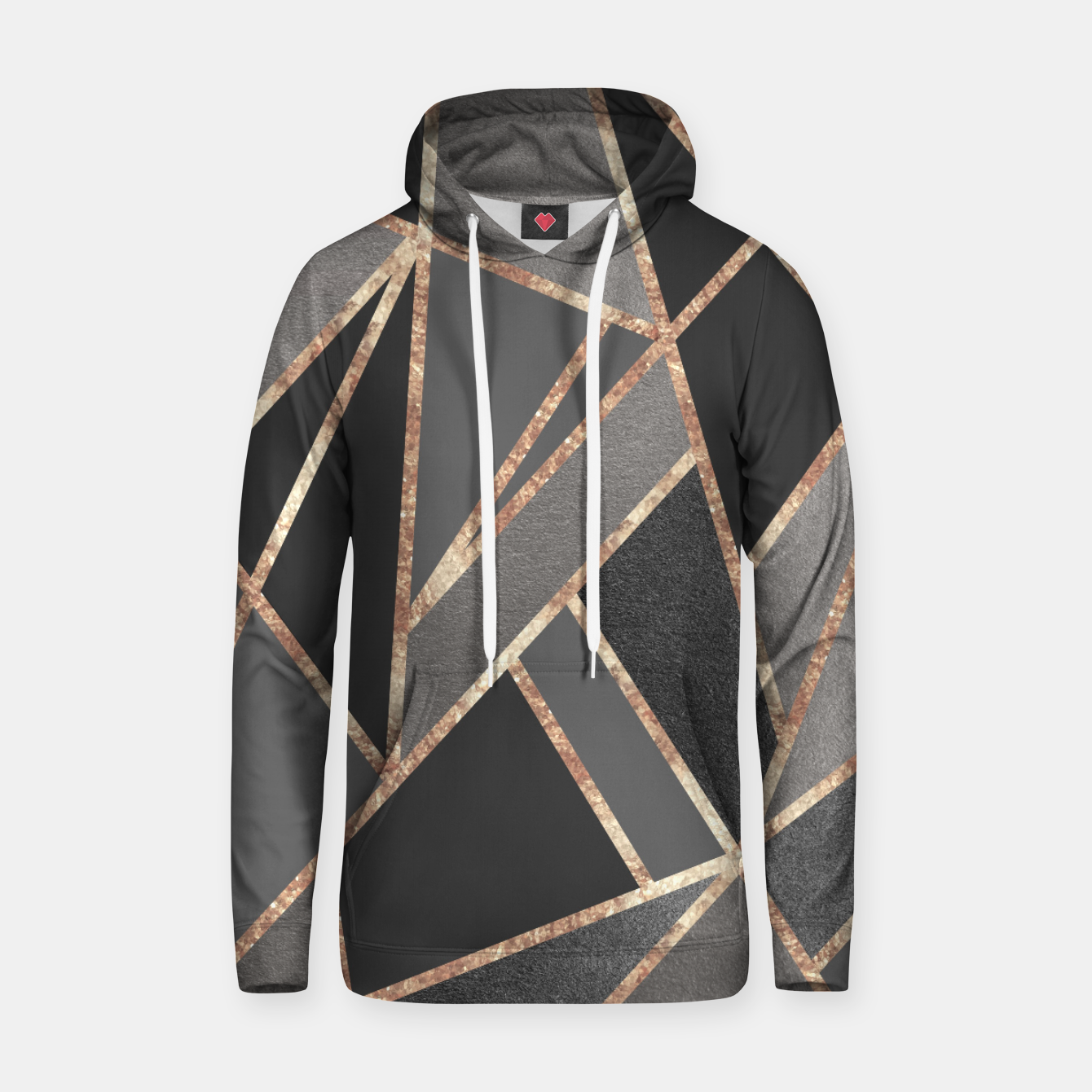 Image of Classic Silver Gray Charcoal Rose Gold Geo #1 #geometric #decor #art  Kapuzenpullover - Live Heroes