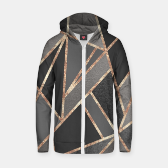 Classic Silver Gray Charcoal Rose Gold Geo #1 #geometric #decor #art  Reißverschluss kapuzenpullover miniature