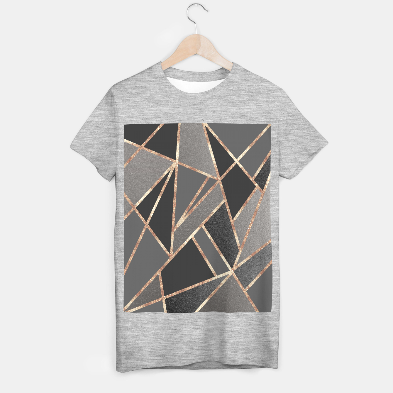 Zdjęcie Classic Silver Gray Charcoal Rose Gold Geo #1 #geometric #decor #art  T-Shirt regulär - Live Heroes