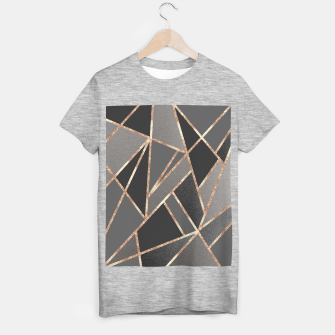 Classic Silver Gray Charcoal Rose Gold Geo #1 #geometric #decor #art  T-Shirt regulär obraz miniatury