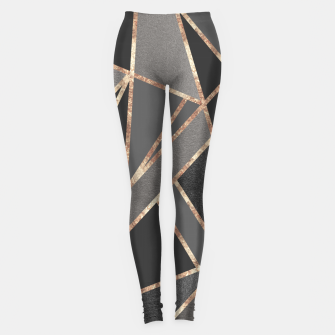 Classic Silver Gray Charcoal Rose Gold Geo #1 #geometric #decor #art  Leggings obraz miniatury