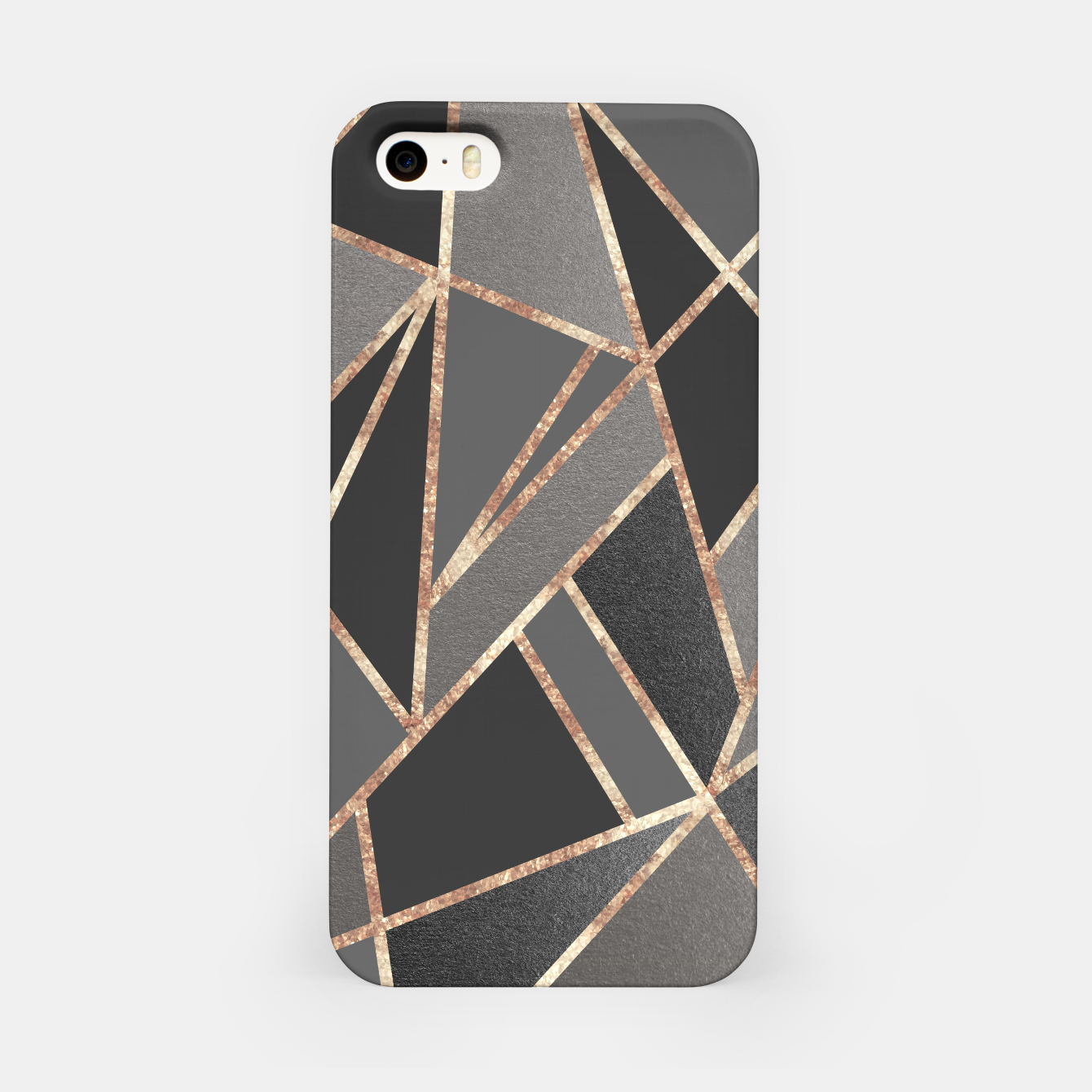 Image of Classic Silver Gray Charcoal Rose Gold Geo #1 #geometric #decor #art  iPhone-Hülle - Live Heroes