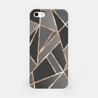 Classic Silver Gray Charcoal Rose Gold Geo #1 #geometric #decor #art  iPhone-Hülle obraz miniatury