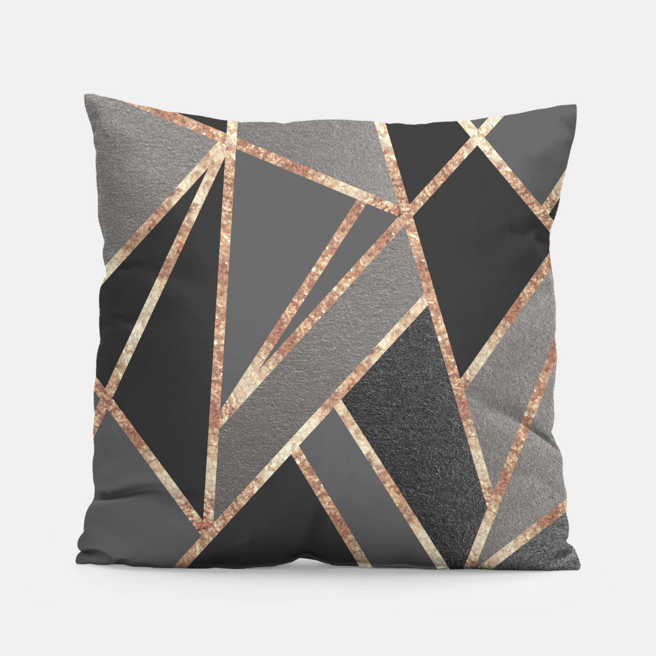 Image of Classic Silver Gray Charcoal Rose Gold Geo #1 #geometric #decor #art  Kissen - Live Heroes