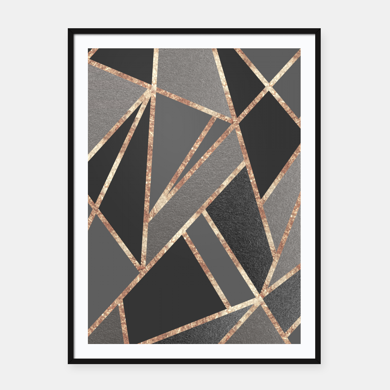 Image of Classic Silver Gray Charcoal Rose Gold Geo #1 #geometric #decor #art  Plakat mit rahmen - Live Heroes
