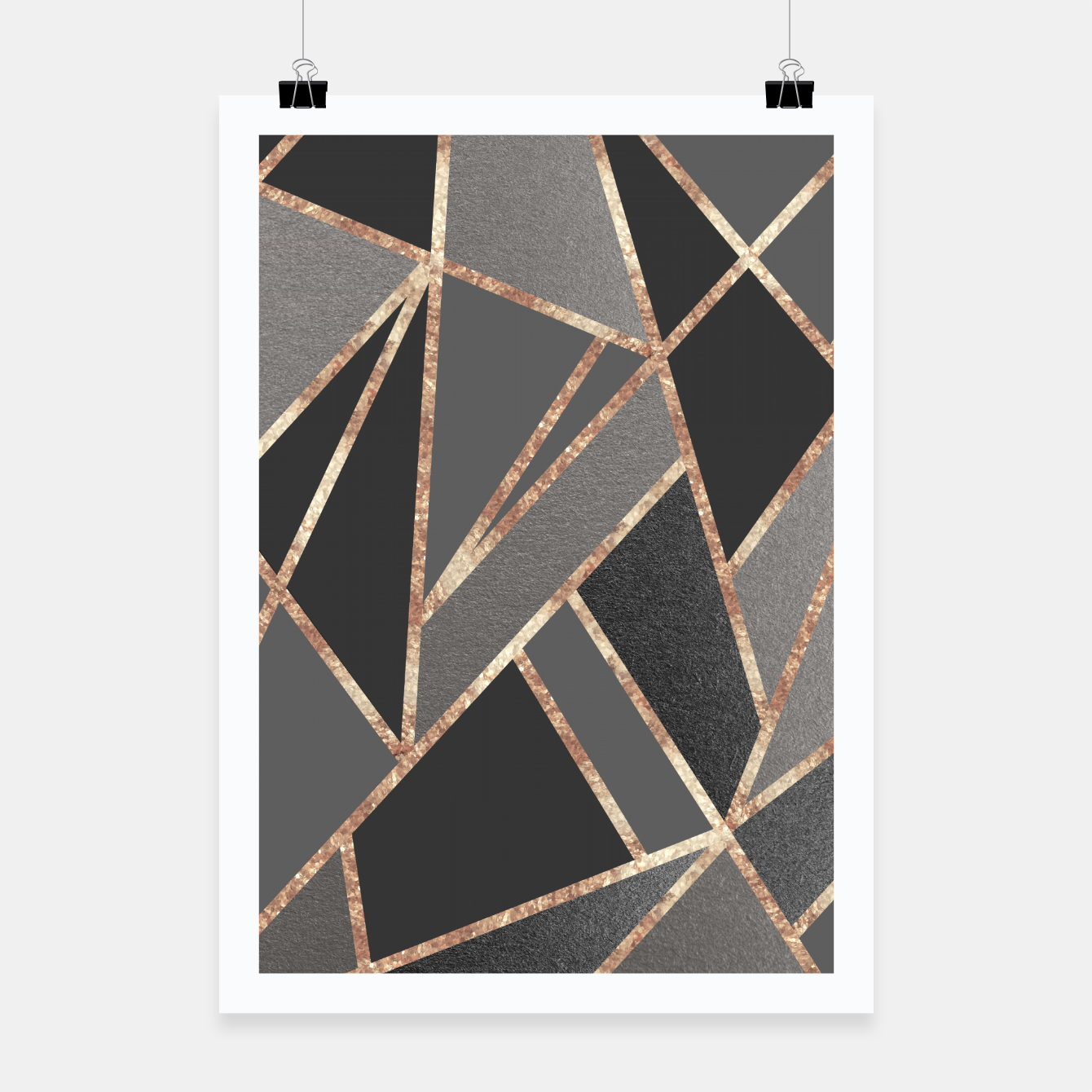 Zdjęcie Classic Silver Gray Charcoal Rose Gold Geo #1 #geometric #decor #art  Plakat - Live Heroes