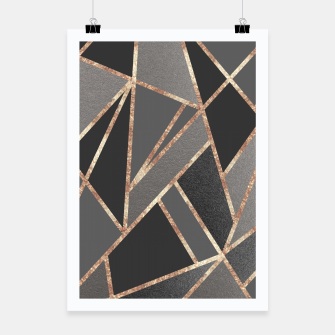 Classic Silver Gray Charcoal Rose Gold Geo #1 #geometric #decor #art  Plakat miniature