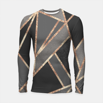 Classic Silver Gray Charcoal Rose Gold Geo #1 #geometric #decor #art  Longsleeve rashguard thumbnail image