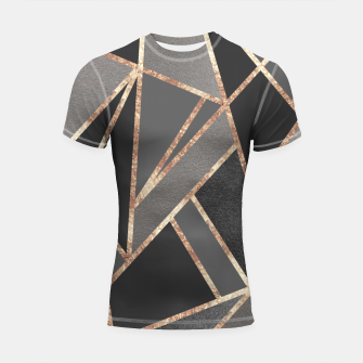 Classic Silver Gray Charcoal Rose Gold Geo #1 #geometric #decor #art  Shortsleeve rashguard obraz miniatury