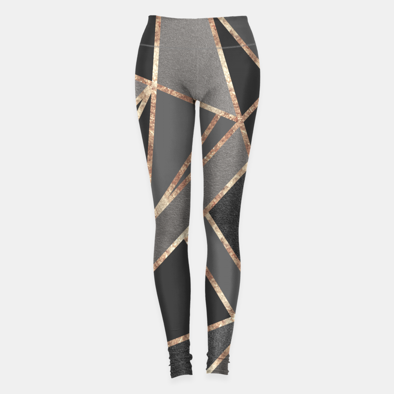 Image of Classic Silver Gray Charcoal Rose Gold Geo #1 #geometric #decor #art  Leggings - Live Heroes
