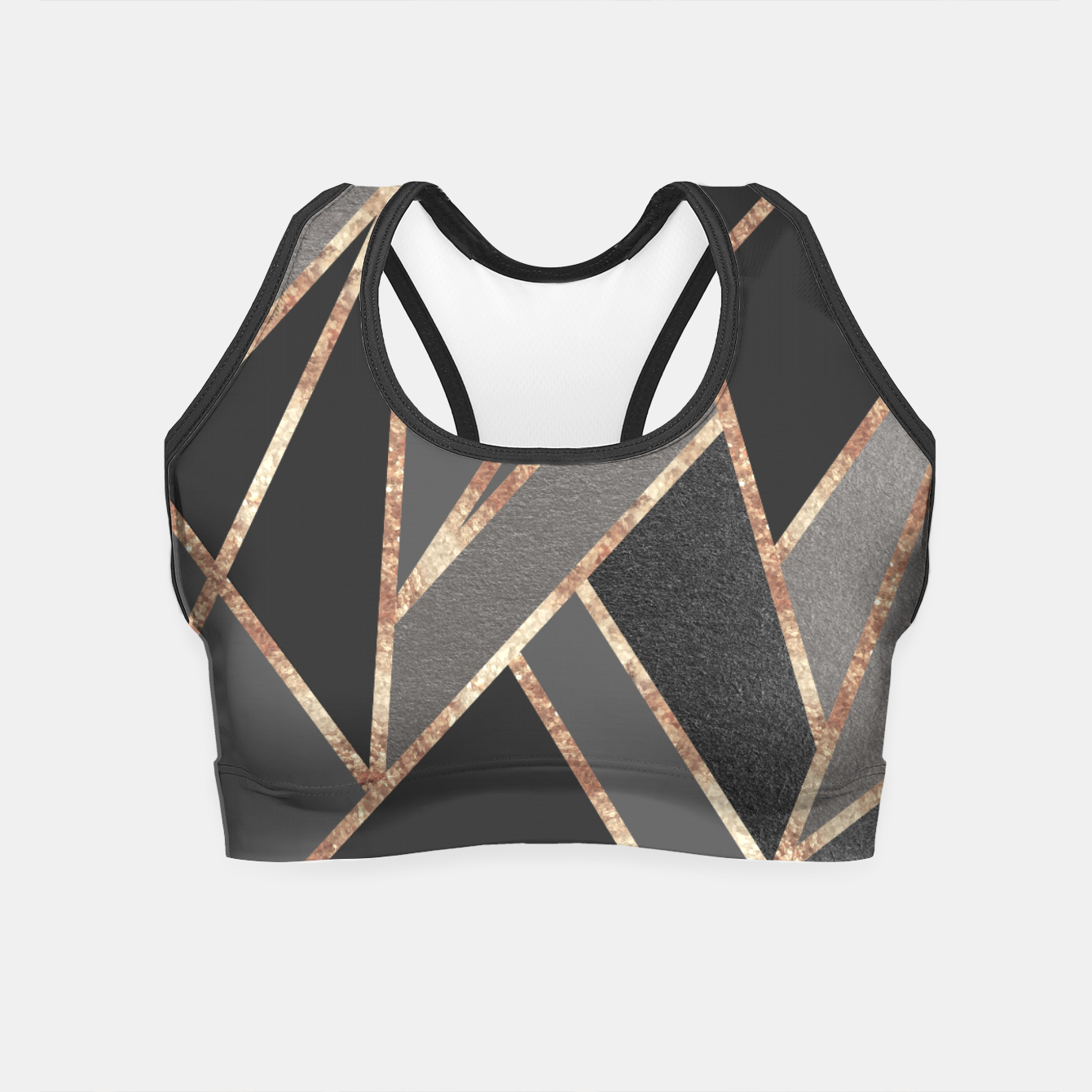 Image of Classic Silver Gray Charcoal Rose Gold Geo #1 #geometric #decor #art  Crop Top - Live Heroes