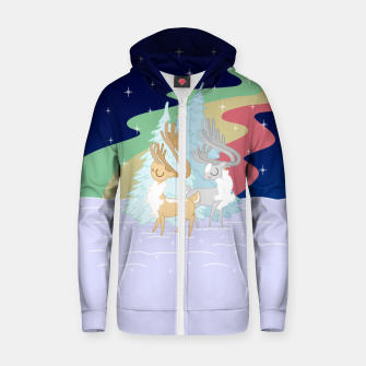 Miniature de image de Reindeers in the Northern Lights Zip up hoodie, Live Heroes
